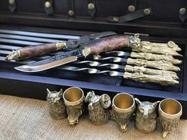 """Эксклюзивный набор для шашлыка """"Охотничий трофей"""", шампура+рюмки+нож"""