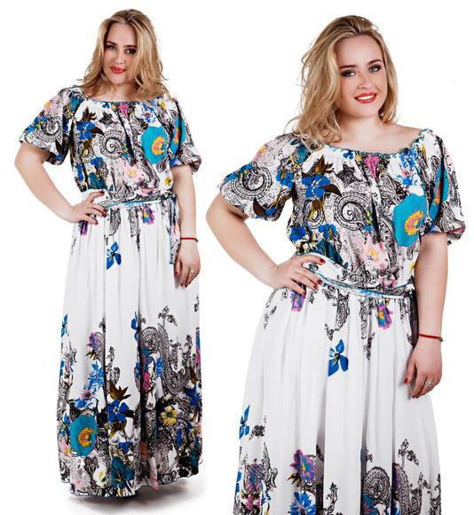 """Элегантное длинное женское платье в больших размерах """"Фонарики Купон"""""""