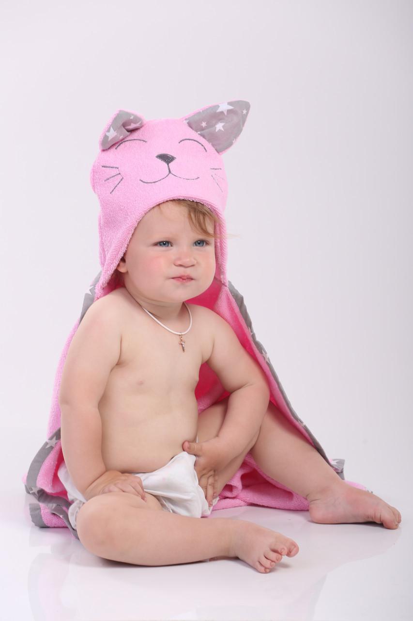 Полотенце для купания мишка детское розовое