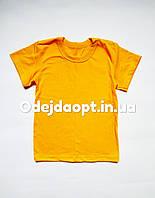 Детская однотонная желтая футболка 3,4,5,6,7,8,9,10,11,12,13,14,15 лет, фото 1