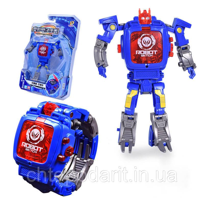 Часы трансформер робот синий  Код 10-8105