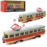 Трамвай AS-1828 АвтоСвіт 1:87,металл,инер-й, 16,5см, в кор-ке,19,5-8-5,5см