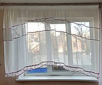 Арка тюль с вставками абстракция с рюшей, фото 1