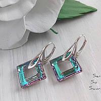 Оригинальные серебряные сережки с кристаллами Swarovski сиренево-бирюзового цвета