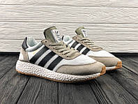 Кроссовки Adidas Iniki , цвет серый-бежевый с черными полосками