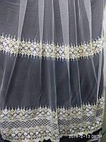 Тюль с вышивкой золотой люрексной ниткой Высота 2.8 м на метраж и опт, фото 1
