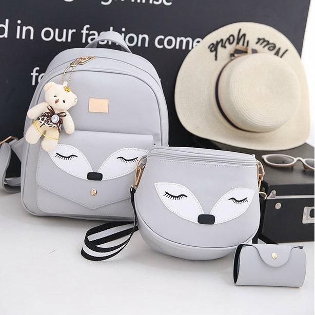 Набор рюкзак и сумочка Лисичка серый