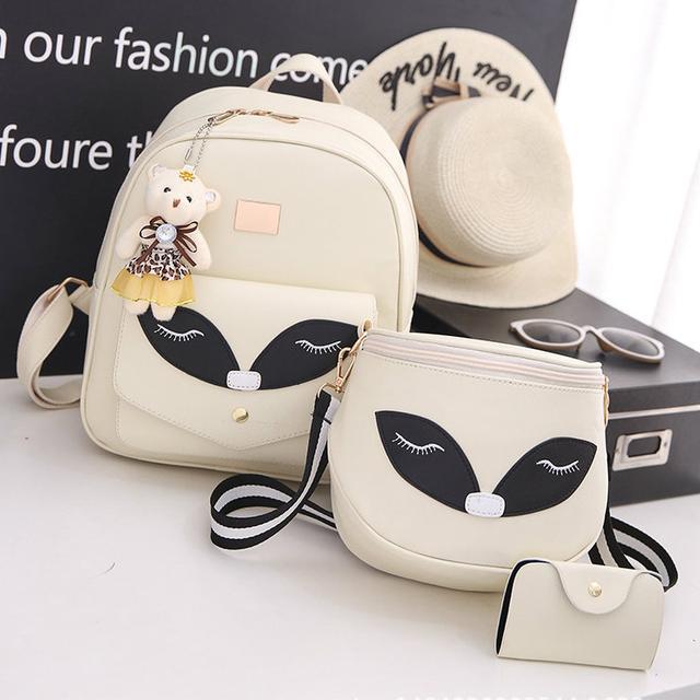 Набор рюкзак и сумочка Лисичка бежевый