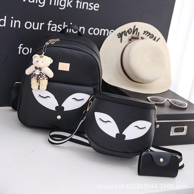 Набор рюкзак и сумочка Лисичка черный