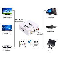 Конвертер AV RCA to HDMI тюльпан переходник, адаптер, 1080p с питанием