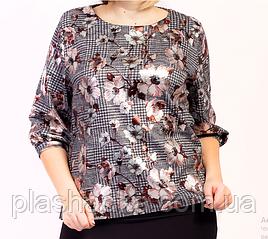 Блузка женская стильная из принтованной ткани в цветок / Модный женский блузон