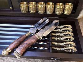 """Эксклюзивный набор для шашлыка """"Морской бриз"""", шампура+рюмки+нож"""