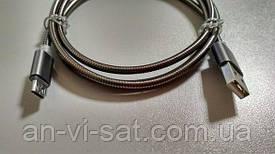 Кабель USB - microUSB в металлической оплетке 1.1м, черный