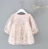 Одяг для маленьких дівчаток, осіннє плаття з рукавами-ліхтариками, дитячі святкові сукні з квітковою вишивкою