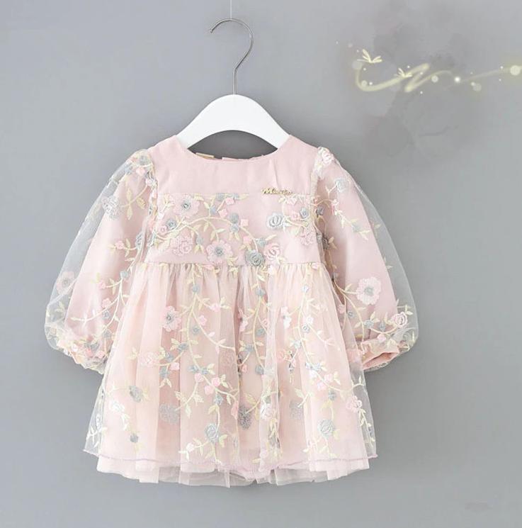 0c93a871734d81 Одяг для маленьких дівчаток, осіннє плаття з рукавами-ліхтариками, дитячі  святкові сукні з