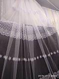 Белоснежная воздушная тюль с вышивкой Высота 2.8 м на метраж и опт, фото 5