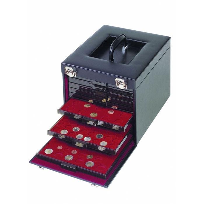 Кейс Leuchtturm для монет (10 боксов), натуральная кожа