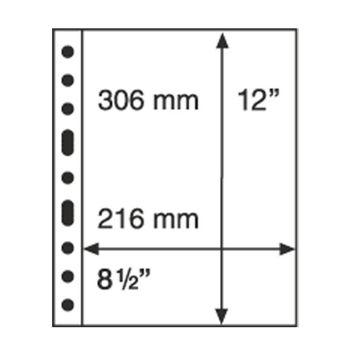 Лист к альбому Leuchtturm, GRANDE, 2x1 карман 216 х 306 мм, черный, 1S