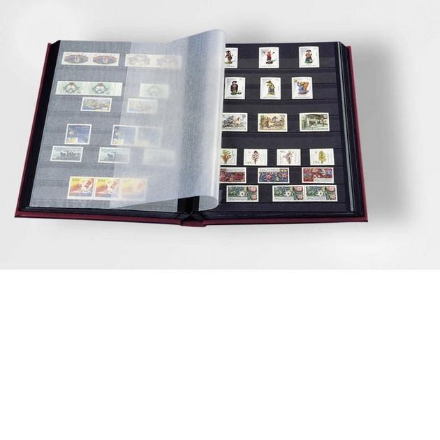 Альбом для марок (кляссер) PREMIUM с 16 листами из черного картона, А4, с футляром, LEFA кожа, синий