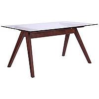 Стол обеденный Эльба 1500*900*750 орех светлый /cтекло прозрачное, фото 1