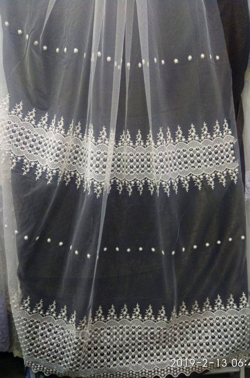 Тюль с вышивкой широкими рядами на фатиновой основе Оптом и на метраж Высота 2.8 м