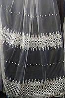 Тюль с вышивкой широкими рядами на фатиновой основе Оптом и на метраж Высота 2.8 м, фото 1