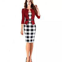 Платье пиджак-обманка красный  с принтом черно-белая клетка рукав 3/4 .