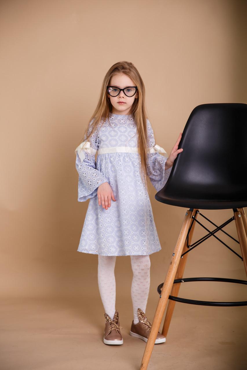 74d832a05f3 Детское платье SUNROZ MiniSize из перфорированного батиста Небесно-Голубой  (SUN0850)