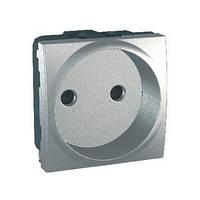 Розетка без заземления с шторками алюминий Schneider Electric - Unica (mgu3.033.30), фото 1