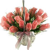 Букет из конфет Розы 17 в корзине