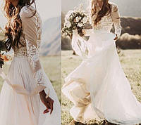 Свадебное платье бохо с длинными кружевными рукавами вырез лодочка закрытая спина на Роспись Венчание CB-9056