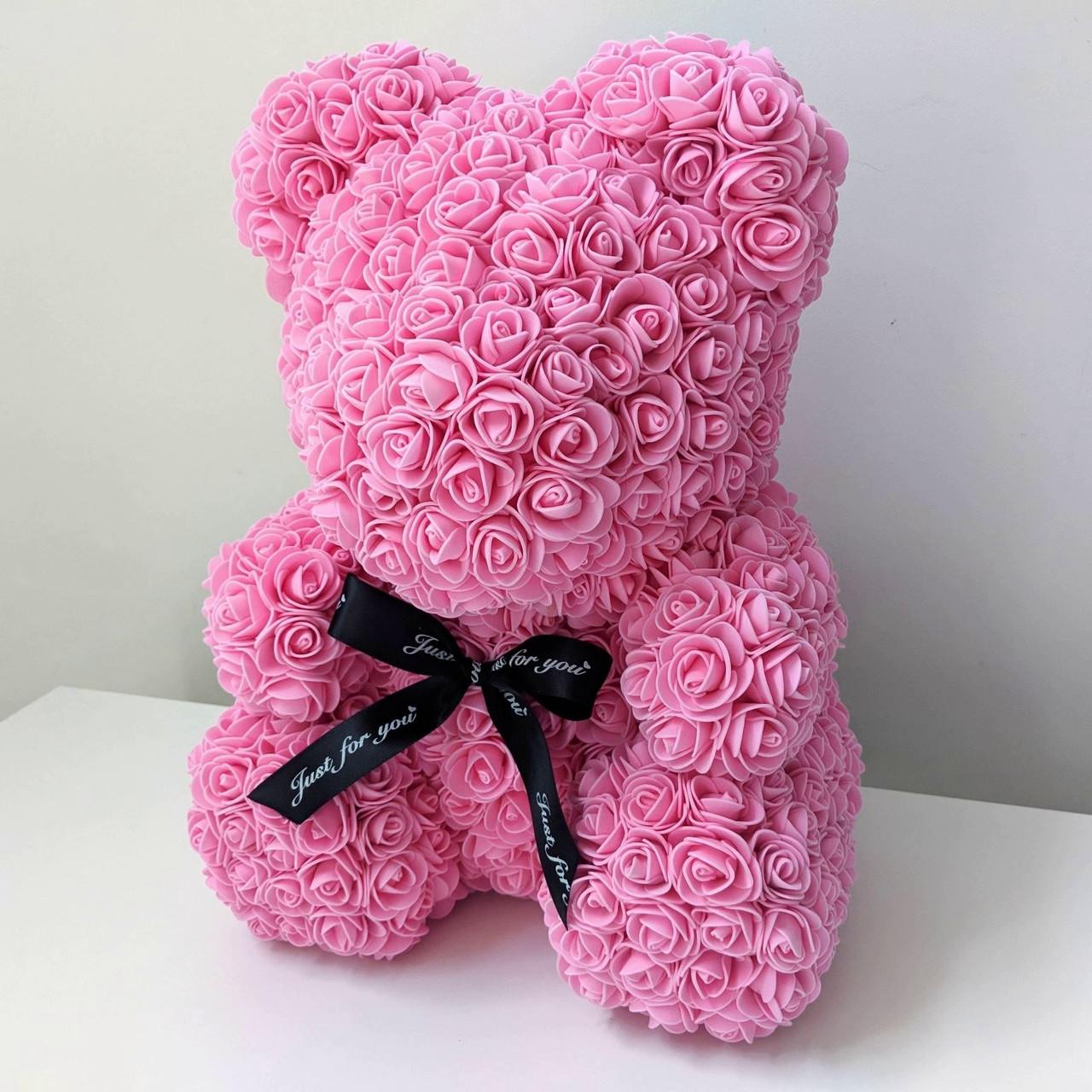 Уникальный мишка из 3d роз Happy Teddy 40 см розовый в подарочной коробке