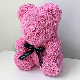 Мишка из 3d роз ручной работы Happy Teddy 40 см розовый в подарочной коробке