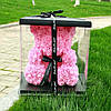 Уникальный мишка из 3d роз Happy Teddy 40 см розовый в подарочной коробке , фото 4
