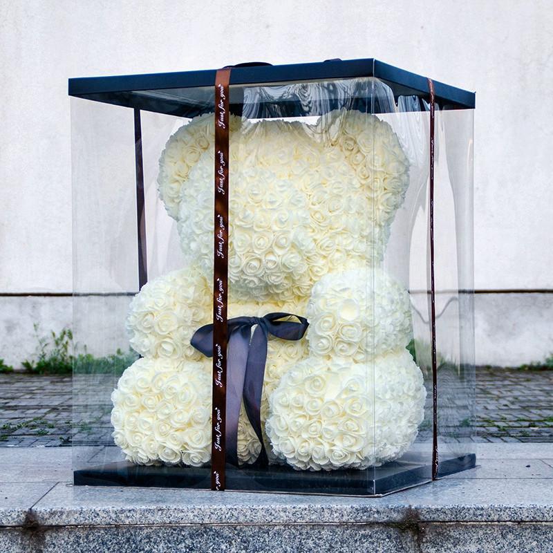 Уникальный мишка из 3d роз Happy Teddy 40 см белый в подарочной коробке