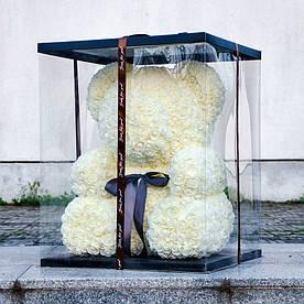Мишка из 3d роз ручной работы Happy Teddy 40 см белый в подарочной коробке