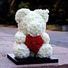 Уникальный мишка из 3d роз Happy Teddy 40 см белый в подарочной коробке , фото 4