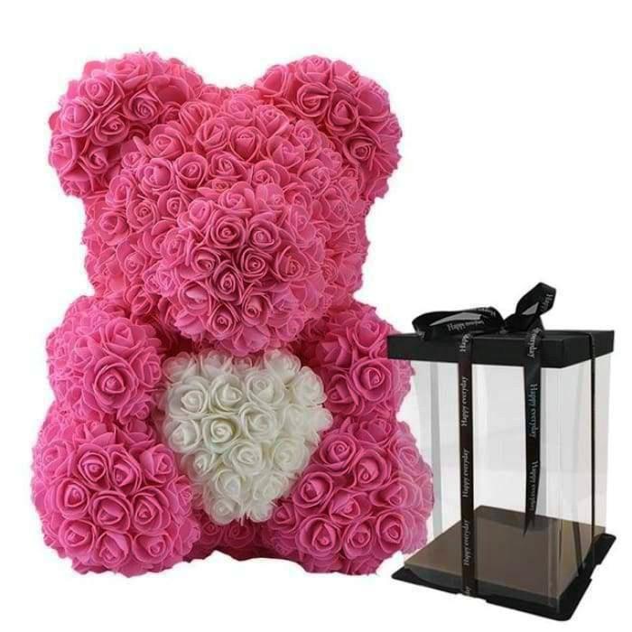 Мишка из 3d роз ручной работы Happy Teddy 40 см розовый с сердцем в подарочной коробке
