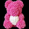 Мишка из 3d роз ручной работы Happy Teddy 40 см розовый с сердцем в подарочной коробке, фото 2