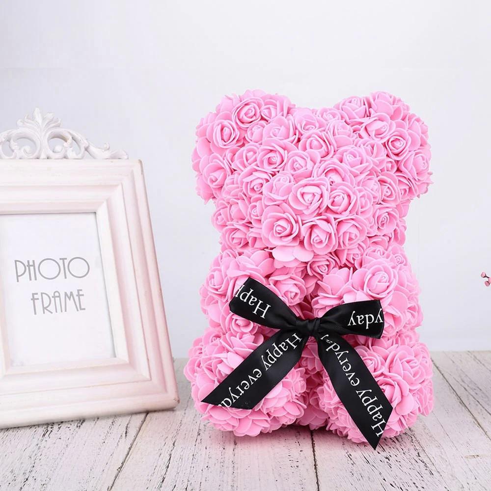 Уникальный мишка из 3d роз Happy Teddy 25 см розовый в подарочной коробке