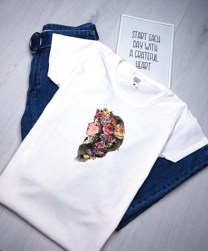 Белая футболка женская. Женская футболка с принтом. ТОП КАЧЕСТВО!!!