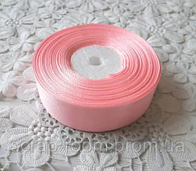Лента атласная 2,5 см светло-розовая, лента светло-розовая атлас, лента атлас, цена за метр
