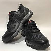 Мужские кроссовки в стиле Reebok, черные / кроссовки мужские Рибок, кожа + сетка, легкие р. 43 последняя пара, фото 1