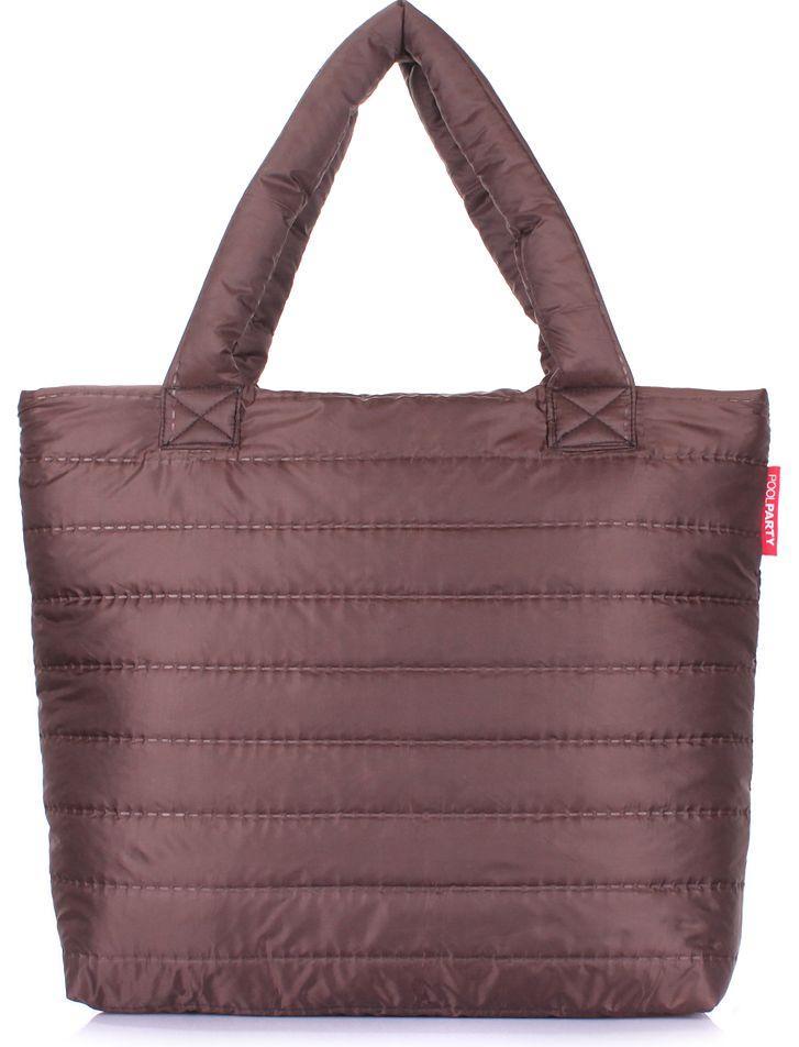 1a2816effd28 Дутая женская сумка POOLPARTY pp4-brown коричневая - SUPERSUMKA интернет  магазин в Киеве