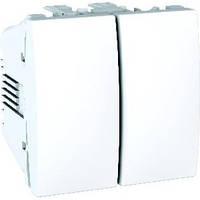 Выключатель двухклавишный белый Schneider Electric - Unica (mgu3.211.18), фото 1