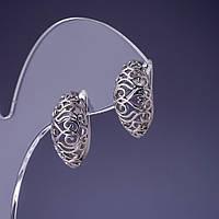 """[18х10мм] Серебристые серьги """"Тагира"""" с родиевым покрытием в восточном стиле с английской застежкой"""