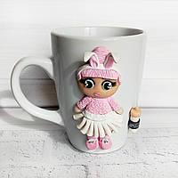 Кукла LOL из полимерной глины на чашке Подарок девочке