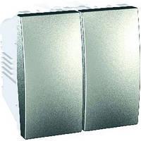 Выключатель двухклавишный алюминий Schneider Electric - Unica (mgu3.211.30), фото 1