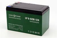 Аккумулятор тяговый 12V 12Ah LogicPower LP 6-DZM-12 клеммы под пайку, 10x10x15см