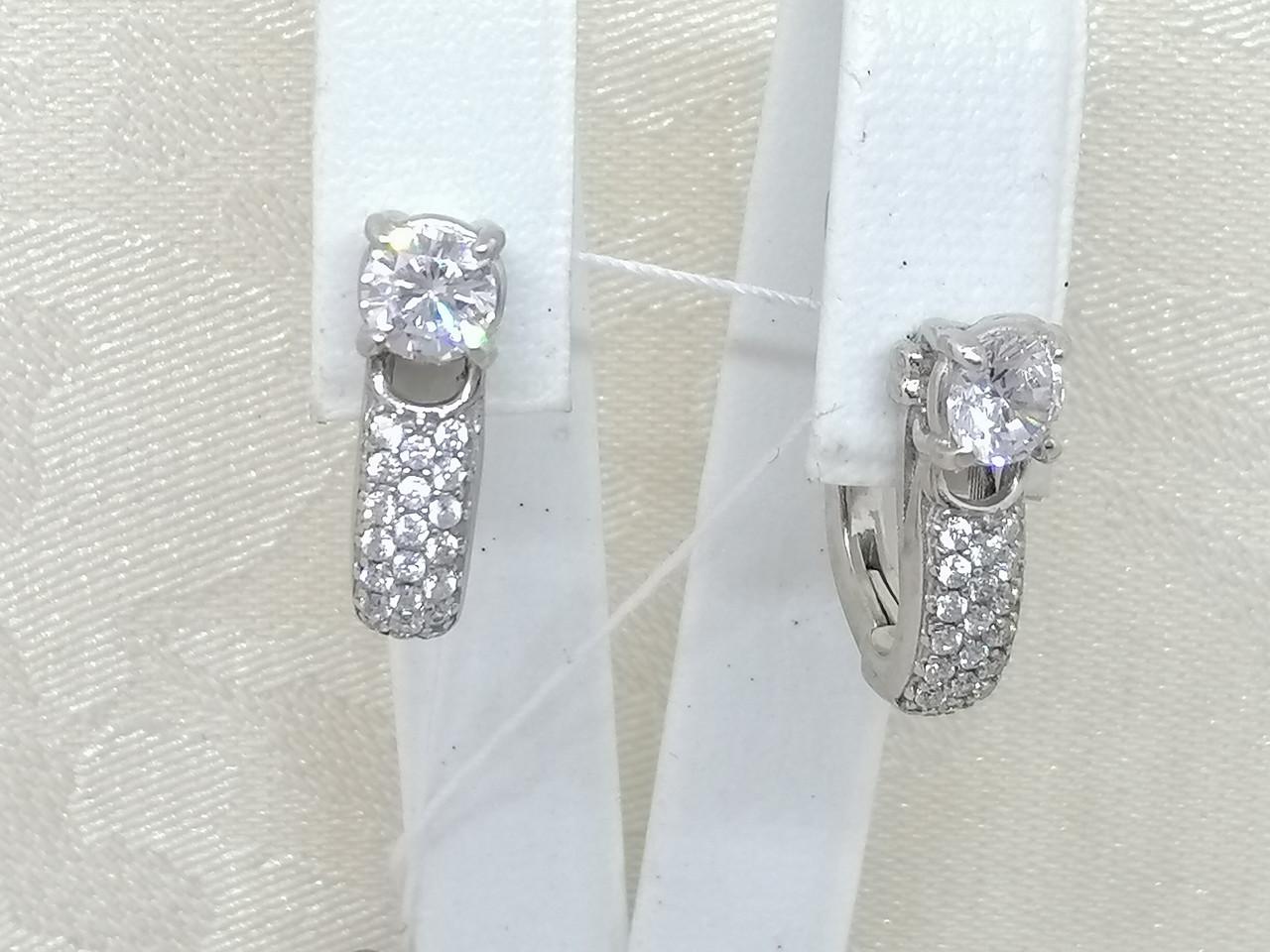 Срібні сережки Панянка з фіанітами. Артикул 2120/9Р-CZ